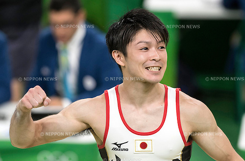Kohei Uchimura (JPN),<br /> AUGUST 8, 2016 - Artistic Gymnastics :<br /> Kohei Uchimura of Japan celebrates after performing on the vault in the Men's Team Final at Rio Olympic Arena during the Rio 2016 Olympic Games in Rio de Janeiro, Brazil. (Photo by Enrico Calderoni/AFLO SPORT)