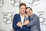 Barrett Foa and Rob McClure backstage at the 'Avenue Q' 15th Anniversary Reunion Concert at Feinstein's/54 Below on July 30, 2018 in New York City.