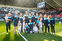 Swansea City Staff during the players lap of appreciation after the Premier League match between Swansea City and West Bromwich Albion at The Liberty Stadium, Swansea, Wales, UK. Sunday 21 May 2017 (Photo by Athena Pictures/Getty Images)