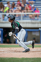 Dayton Dragons designated hitter Malik Collymore (6) follows through on a swing during a game against the Beloit Snappers on July 22, 2018 at Pohlman Field in Beloit, Wisconsin.  Dayton defeated Beloit 2-1.  (Mike Janes/Four Seam Images)