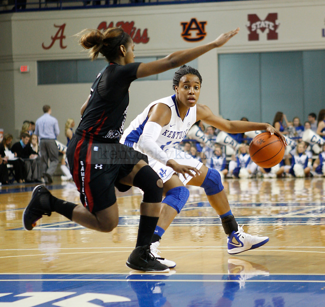 UK's freshman guard Bria Goss dribbles the ball during the first half of UK Hoops senior night game vs. South Carolina at Memorial Coliseum in Lexington, Ky., on Thursday, Feb. 23, 2012. Photo by Tessa Lighty | Staff