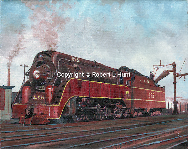 "Big Red steam locomotive of the Louisville and Nashville Railroad taking on water in the yard. Oil on canvas, 8"" x 10""."