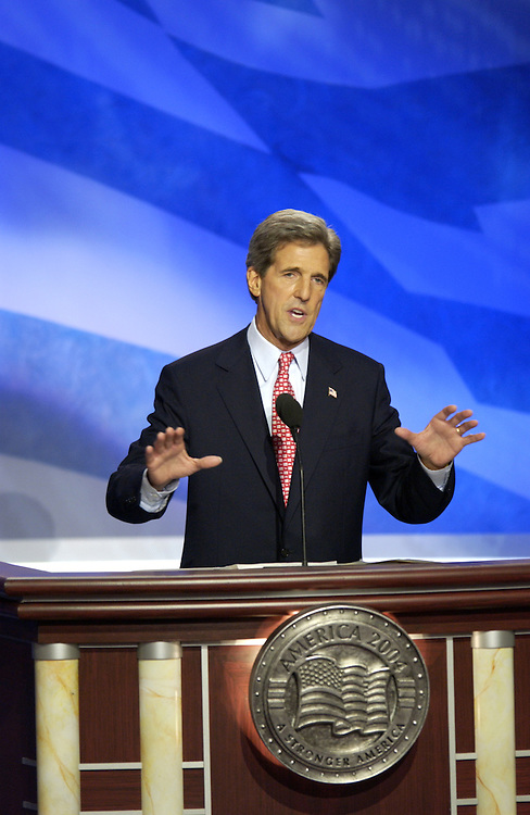 John Kerry during his acceptance speech at the 2004 Democratic National Convention in Boston Massachusetts..