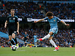 Leroy Sane of Manchester City takes a shot on goal during the English Premier League match at the Etihad Stadium, Manchester. Picture date: May 16th 2017. Pic credit should read: Simon Bellis/Sportimage