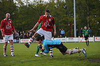 VOETBAL: JUBBEGA: Sportpark 't Heidefjild, 16-05-2012, Nacompetitie, Zondag 4e klasse B, SC Boornbergum'80 - Haulerwijk, Eindstand 2-1, Jan Wierd Ritsema (#12 | HW), Tim vd Velde (#4 | HW), Julian Hut (#1 | HW), ©foto Martin de Jong