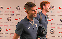 WASHINGTON D.C. - OCTOBER 11: Christian Pulisic #10 and Josh Sargent #19 of the United States walks off the team bus prior to their Nations League game versus Cuba at Audi Field, on October 11, 2019 in Washington D.C.