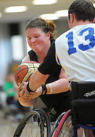 Action from the 2013 Wheelchair Basketball National Championships at ASB Sports Centre, Kilbirnie, Wellington, New Zealand on Saturday, 21 September 2012. Photo: Dave Lintott / lintottphoto.co.nz