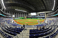 7 March 2012:  The interior of Marlins Park, the Marlins new stadium with a retractable dome, prior to the game.  The Miami Marlins defeated the FIU Golden Panthers, 5-1, at Marlins Park in Miami, Florida.