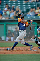 Jorge Mateo (14) of the Las Vegas Aviators at bat against the Salt Lake Bees at Smith's Ballpark on July 20, 2019 in Salt Lake City, Utah. The Aviators defeated the Bees 8-5. (Stephen Smith/Four Seam Images)
