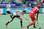 The Hague, Netherlands, June 15: Tobias Hauke #13 of Germany and Xavier Reckinger #2 of Belgium battle for the ball during the field hockey placement match (Men - Place 5th/6th) between Belgium and Germany on June 15, 2014 during the World Cup 2014 at Kyocera Stadium in The Hague, Netherlands. Final score 4-2 (1-1)  (Photo by Dirk Markgraf / www.265-images.com) *** Local caption ***