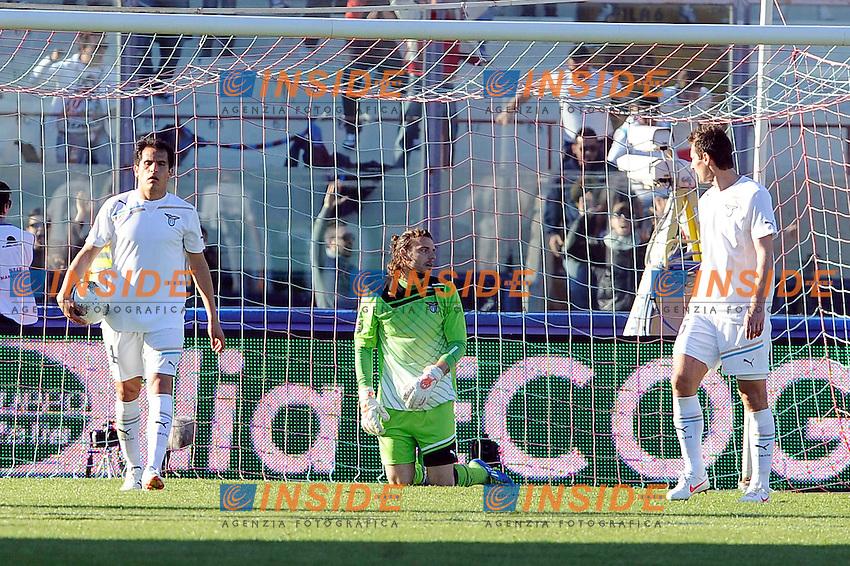 Delusione di Federico Marchetti, Cristian Ledesma e Miroslav Klose (Lazio).Catania, 18/03/2012 .Football Calcio 2011/2012 .Catania vs Lazio 1-0.Campionato di calcio Serie A.