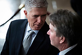 WASHINGTON, DC - DECEMBER 3 : Supreme Court Associate Justice Neil M. Gorsuch, and Associate Justice Brett M. Kavanaugh wait for the arrival of Former president George H.W. Bush to lie in State at the U.S. Capitol Rotunda on Capitol Hill on Monday, Dec. 03, 2018 in Washington, DC. (Photo by Jabin Botsford/Pool)