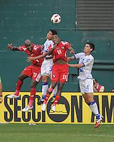 El Salvador Victor Turcios 5 Heads The Ball Against Panama Luis Tejada 18