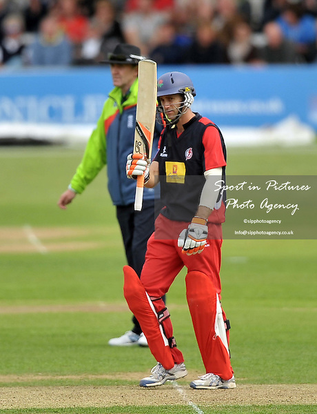 Simon Katich (Lancashire) celebrates his 50. Essex V Lancashire. Yorkshire Bank 40. The Essex County Ground (ECG). Chelmsford. Essex. 16/06/2013. MANDATORY Credit Garry Bowden/Sportinpictures - NO UNAUTHORISED USE - 07837 394578