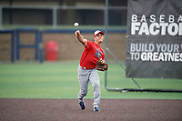 Robert Moore (1) during the Under Armour All-America Game Practice, powered by Baseball Factory, on July 21, 2019 at Les Miller Field in Chicago, Illinois.  Robert Moore attends Shawnee Mission East High School in Leawood, Kansas and is committed to the University of Arkansas.  (Mike Janes/Four Seam Images)
