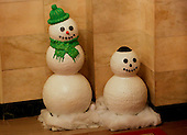 A snowman with a kippah is seen at the White House while United States President Barack Obama and First Lady Michelle Obama attend a Hanukkah reception in the East Room of the White House, December 14, 2016, Washington, DC. (Pool/Aude Guerrucci)<br /> Credit: Aude Guerrucci / Pool via CNP