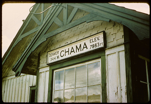 Close-up of Chama station and sign.<br /> D&amp;RGW  Chama, NM  Taken by Jenkins, N. P. - 9/25/1964