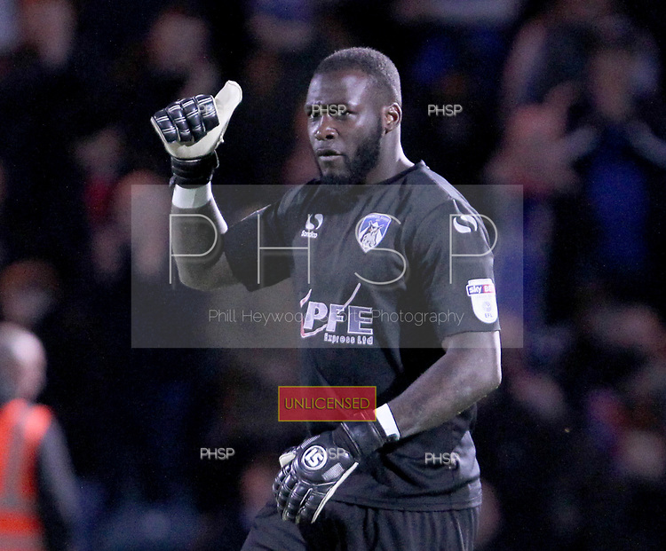 Rochdale v Oldham. SkyBet League One. 17/4/2018 <br /> <br /> Johny Placide, Oldham keeper saved penalty from Rochdale's Joe Rafferty.<br /> <br /> Credit: PHSP/Harry McGuire.