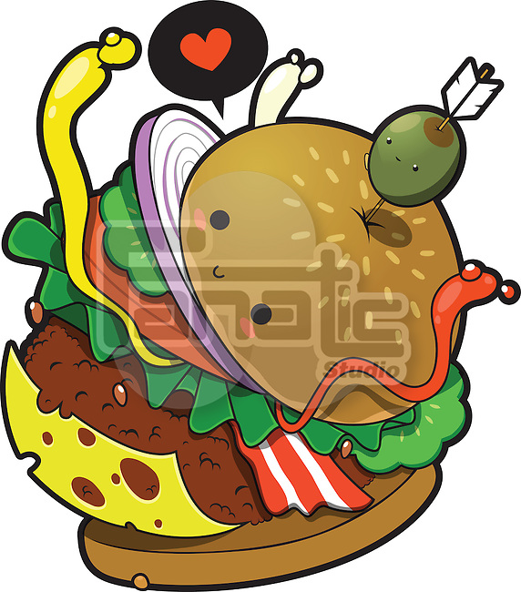 Illustrative image of delicious hamburger against white background