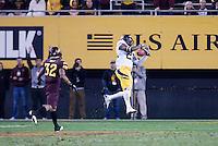 Josh Hill of California Football intercepts the ball during a game against  Arizona State at Sun Devil Stadium in Tempe, California on November 25th, 2011 -  California defeated Arizona State 47 - 38