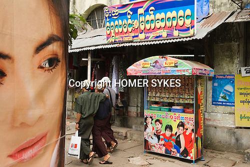 Government lottery booth Yangon Myanmar ( Rangoon Burma ) South East Asia 2006.