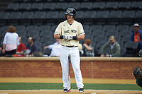 Bobby Seymour (3) of the Wake Forest Demon Deacons at bat against the Miami Hurricanes at David F. Couch Ballpark on May 11, 2019 in  Winston-Salem, North Carolina. The Hurricanes defeated the Demon Deacons 8-4. (Brian Westerholt/Four Seam Images)