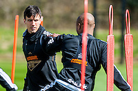 Wednesday  27 April 2016<br /> Pictured: Jack Cork in action during training<br /> Re: Swansea City Training Session at the Fairwood Ground, Swansea, Wales, UK