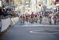 bunch sprint on the Via Roma with John Degenkolb (DEU/Giant-Alpecin) victoriously crossing the finish line<br /> <br /> 106th Milano - San Remo 2015