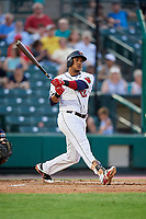 Rochester Red Wings shortstop Jorge Polanco (12) follows through on a swing during a game against the Lehigh Valley IronPigs on June 30, 2018 at Frontier Field in Rochester, New York.  Lehigh Valley defeated Rochester 6-2.  (Mike Janes/Four Seam Images)