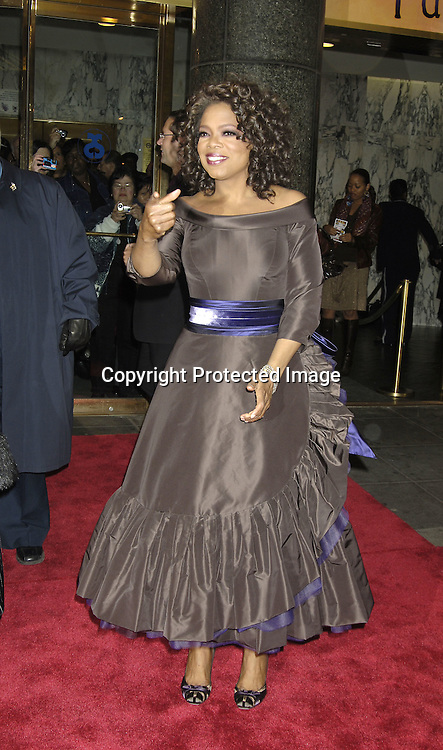 "Oprah Winfrey..arriving at the Broadway opening of ""The Color Purple"" ..produced by Oprah Winfrey on December 1, 2005 ..at The Broadway Theatre...Photo by Robin Platzer, Twin Images"