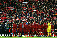 Liverpool players take the applause of the fans inside Anfield ahead of kick-off <br /> <br /> Photographer Rich Linley/CameraSport<br /> <br /> UEFA Champions League Round of 16 First Leg - Liverpool and Bayern Munich - Tuesday 19th February 2019 - Anfield - Liverpool<br />  <br /> World Copyright © 2018 CameraSport. All rights reserved. 43 Linden Ave. Countesthorpe. Leicester. England. LE8 5PG - Tel: +44 (0) 116 277 4147 - admin@camerasport.com - www.camerasport.com