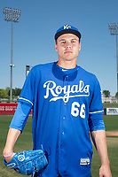 Kansas City Royals starting pitcher Evan Steele (66) poses for a photo at Surprise Stadium on May 3, 2018 in Surprise, Arizona. (Zachary Lucy/Four Seam Images)