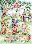 Interlitho, Theresa, EASTER, paintings, 3 rabbits, swing, tree(KL4276,#E#)