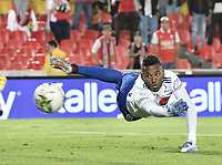 BOGOTA - COLOMBIA, 07-09-2019: Jefferson Martinez arquero del Millonarios en acción durante el partido entre Independiente Santa Fe y Millonarios por la fecha 10 de la Liga Águila II 2019 jugado en el estadio Nemesio Camacho El Campín de la ciudad de Bogotá. / Jefferson Martinez goalkeeper of Millonarios in action during the Final second leg match between Independiente Santa Fe and Millonarios as part of the Aguila League II 2019 played at Nemesio Camacho El Campín stadium in Bogota city. Photo: VizzorImage / Gabriel Aponte / Staff