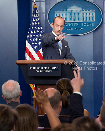 White House senior advisor for policy Stephen Miller conducts a press briefing on the Trump Administration's support of the Reforming American Immigration for a Strong Economy (RAISE) Act in the Brady Press Briefing Room of the White House in Washington, DC on Wednesday, August 2, 2017. <br /> Credit: Ron Sachs / CNP