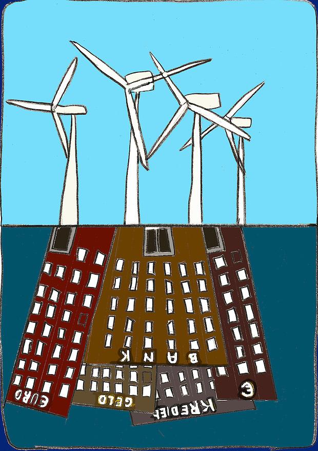 Driebergen, 16  febr  2009.illustratie, tekening met computer inkleuring met de crisis als thema..nieuwe economie op het verleden gebouwd.. Foto: (c) Renee Teunis