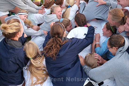 Trent Nelson  |  The Salt Lake Tribune.Skyline fans and players dogpile on goalkeeper Alli Spencer after she scored the winning goal. Skyline defeats Bountiful in a shootout, high school soccer playoffs, in Herriman, Utah, Thursday, October 13, 2011.