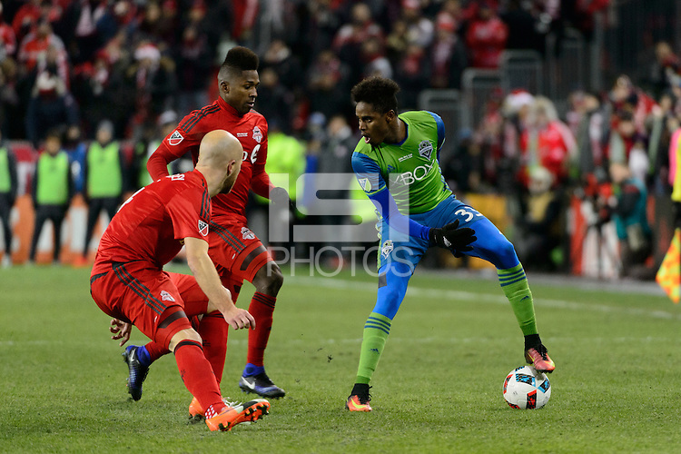 Toronto, ON, Canada - Saturday Dec. 10, 2016: Joevin Jones, Michael Bradley during the MLS Cup finals at BMO Field. The Seattle Sounders FC defeated Toronto FC on penalty kicks after playing a scoreless game.