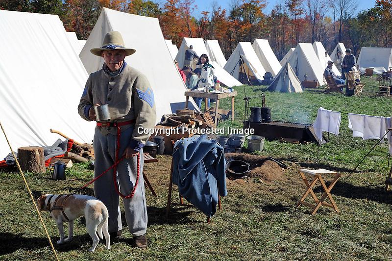 Civil War Reenactment Confederate Camp Soldier and Tents