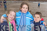 Fiona, Orla and Sean Dineen give a great send off at the releasing of two seals at Rossbeigh beach on Saturday..