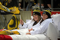 Fans enjoy the comfort of a Rydges promotional bed during the Super Rugby match between the Hurricanes and Blues at Westpac Stadium, Wellington, New Zealand on Saturday, 2 July 2016. Photo: Dave Lintott / lintottphoto.co.nz