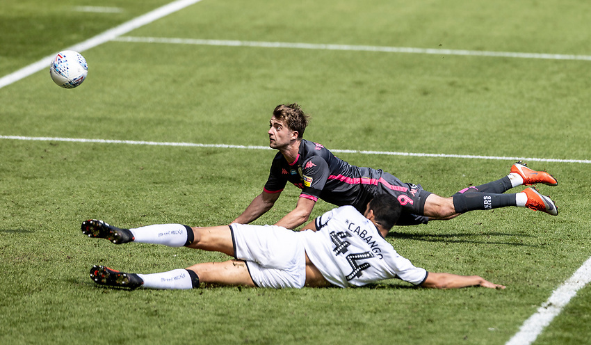 Leeds United's Patrick Bamford heads at goal<br /> <br /> Photographer Andrew Kearns/CameraSport<br /> <br /> The EFL Sky Bet Championship - Swansea City v Leeds United - Sunday 12th July 2020 - Liberty Stadium - Swansea<br /> <br /> World Copyright © 2020 CameraSport. All rights reserved. 43 Linden Ave. Countesthorpe. Leicester. England. LE8 5PG - Tel: +44 (0) 116 277 4147 - admin@camerasport.com - www.camerasport.com
