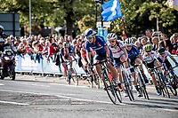 peloton in pursuit of Annemiek van Vleuten who has been ahead solo for most of the race<br /> <br /> Elite Women Road Race from Bradford to Harrogate (149km)<br /> 2019 Road World Championships Yorkshire (GBR)<br /> <br /> ©kramon