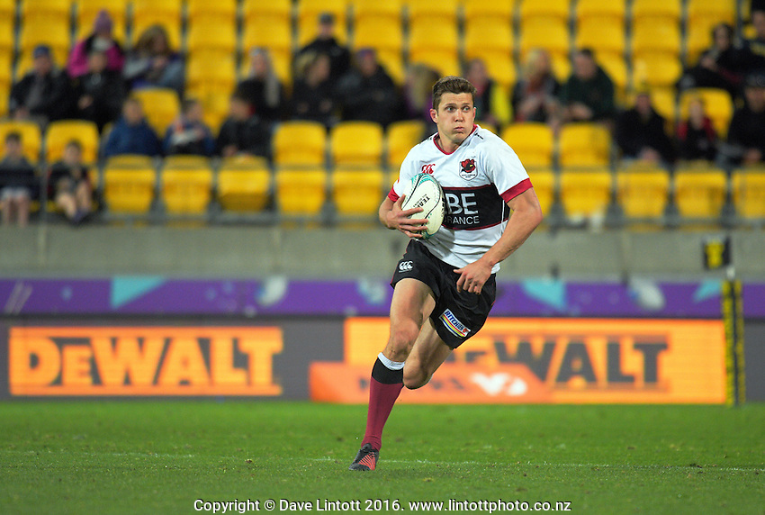 Matt Duffie in action during the Mitre 10 Cup rugby union match between Wellington Lions and North Harbour at Westpac Stadium, Wellington, New Zealand on Saturday, 3 September 2016. Photo: Dave Lintott / lintottphoto.co.nz