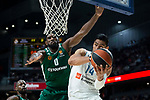 Real Madrid Gustavo Ayon and Panathinaikos Chris Singleton during Turkish Airlines Euroleague Quarter Finals 3rd match between Real Madrid and Panathinaikos at Wizink Center in Madrid, Spain. April 25, 2018. (ALTERPHOTOS/Borja B.Hojas)