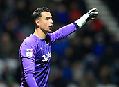 1st February 2019, Deepdale, Preston, England; EFL Championship football, Preston North End versus Derby County; Derby County goalkeeper Kelle Roos shouts instructions to his defenders