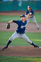 Helena Brewers starting pitcher Scott Sunitsch (28) delivers a pitch to the plate against the Ogden Raptors at Lindquist Field on July 14, 2018 in Ogden, Utah. Ogden defeated Helena 8-6. (Stephen Smith/Four Seam Images)