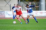 2015-10-25 / Voetbal / Seizoen 2015-2016 / FC Turnhout - KV Vosselaar / Jonas Nijs met Nurullah Kocak (r. FC Turnhout)<br /><br />Foto: Mpics.be