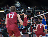 STANFORD, CA - March 2, 2019: Jordan Ewert, Eli Wopat, Paul Bischoff at Maples Pavilion. The Stanford Cardinal defeated BYU 25-20, 25-20, 22-25, 25-21.