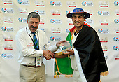 David Dukes, ICC Match Referee, presents Hamid Hassan with the Man of Match award in the Afghanistan victory over Scotland - in the Intercontinental Cup final match at Dubai ICC Sports City Cricket Ground - picture by Donald MacLeod 04.12.10 - mobile 07702 319 738 - clanmacleod@btinternet.com - www.donald-macleod.com